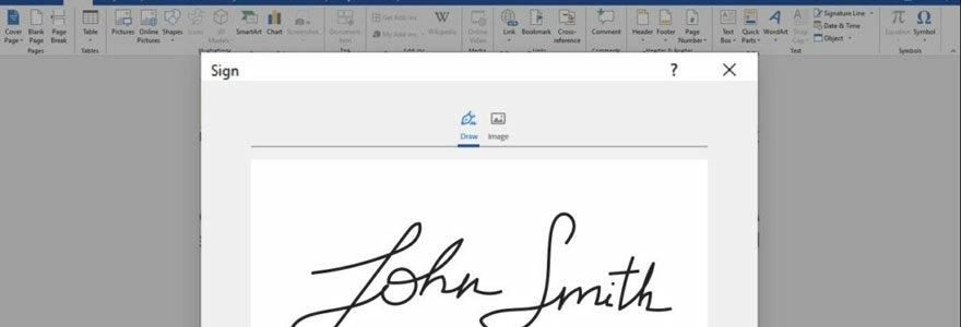 signature dans un document Word